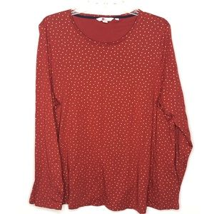 Boden rust with gold polka dots top Size XL